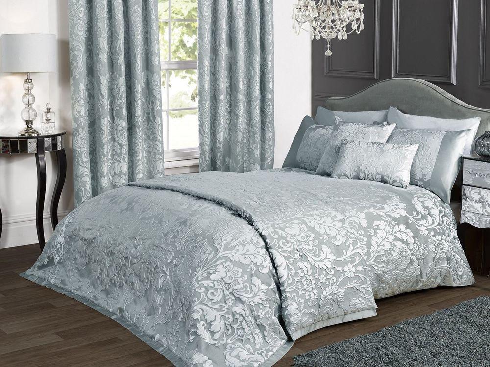 Marston Damask Duvet Cover Embossed Floral Motif Duckegg Cream Quilt Bedding Set Damask Bedding White Bed Set Silver Bedding
