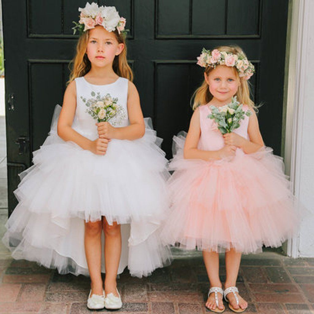Round Neckline Hi Line Tulle Pixie Tutu Dresses Cheap Flower Girl