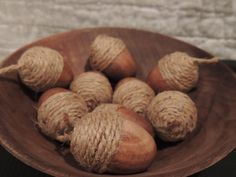 """Rustic Wedding Wooden Acorns 50 – Rustic Wedding Favors Bowl Filler Table Scatter Thanksgiving Fall Autumn Halloween Wooden Acorns – Scatter a few on your table or fill a bowl or jar this listing is for 50 The wood is hand stained with a twine """"acorn cap"""" Farmhouse Décor, weddings, country décor, Thanksgiving Ruler in photo shows size. Approx 1 1/2″ long Smaller or Larger quantities available."""