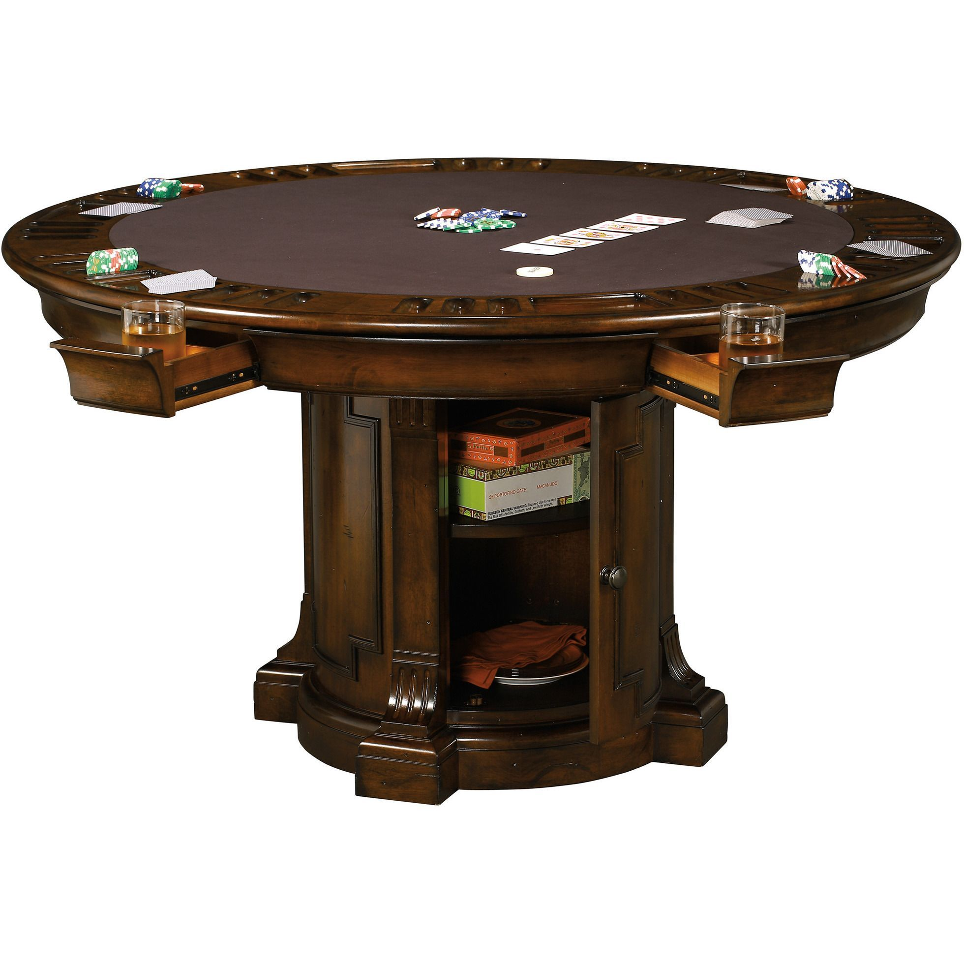 Roxbury Game Table By Howard Miller 699034 Table Games Poker Table Round Storage
