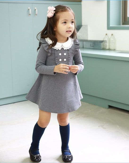 1b053148aee6 grey dress + knee high socks (different color)
