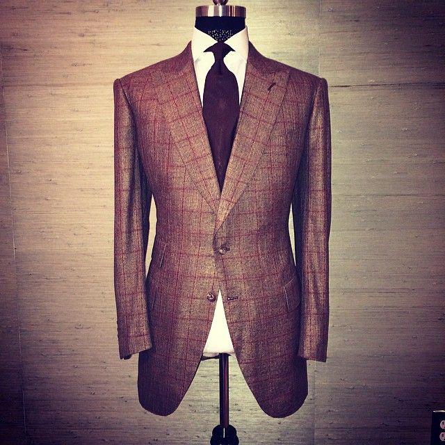 AL Bespoke Bronze Windowpane HandStitched Suit In Portofino Fabric w/ Our 7 Fold Grenadine Brown Tie. #keepwinning