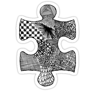 aec4dfc66 black and white zentangle puzzle piece  Sticker by rebecca-n-art in ...