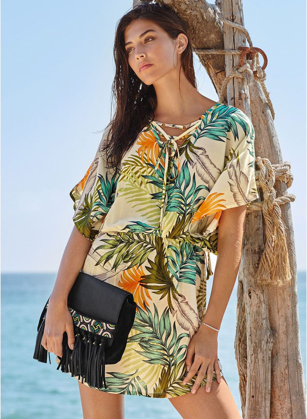 Next Multicolor Leaf Print Lace Up Cover Up Multicolor Leafprint Coverup Beachwear
