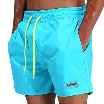 dc1ff0980d97f ESCATCH Loose Water Repellent Thin Sport Drawstring Solid Color Trunk Beach  Shorts for Men