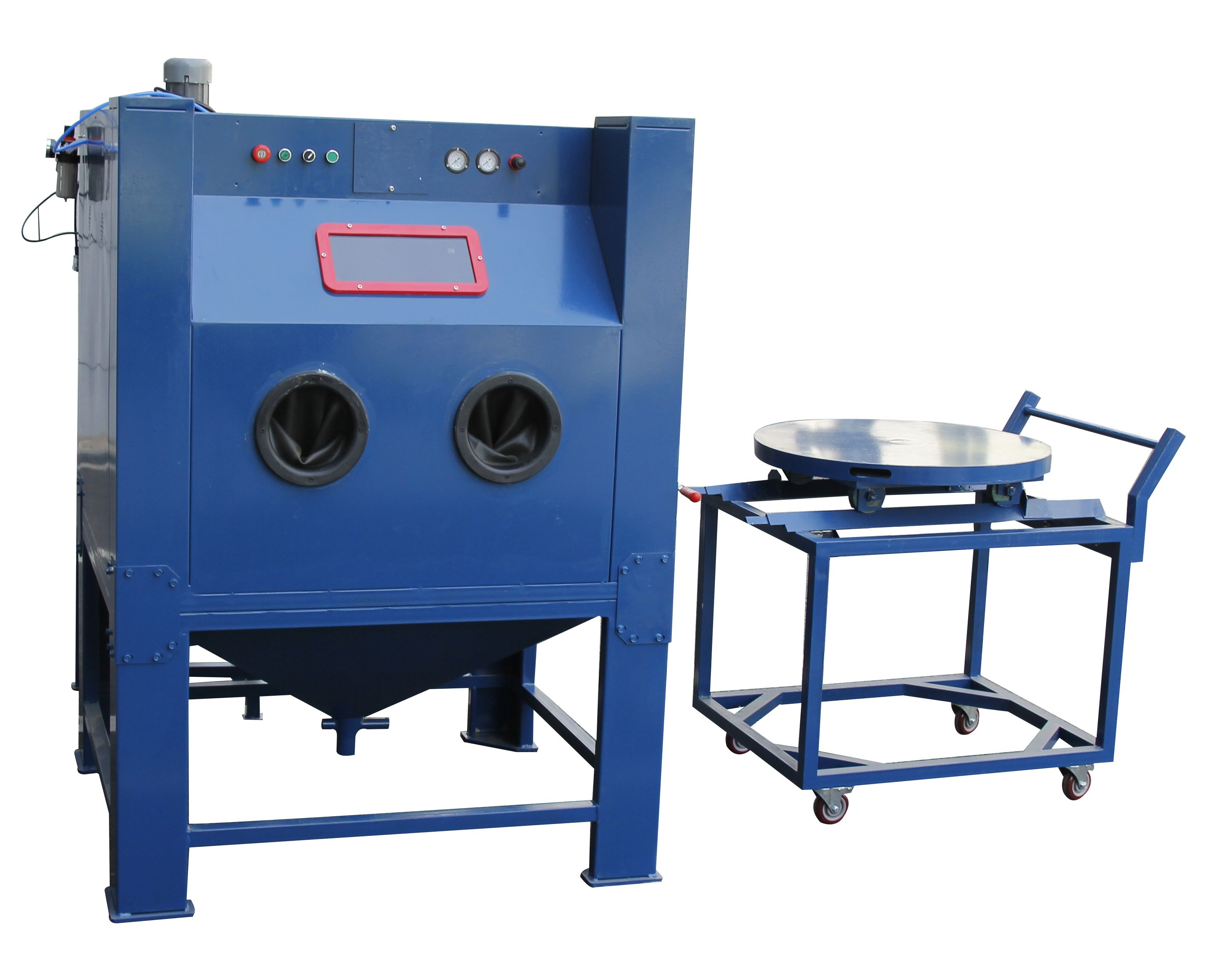 Manual sandblasting cabinet with turntable for easy operation.  #manualsandblalstingcabinet #drysandblastingcabinet #highqualityblastcabinet