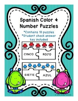 Foreign Language: Spanish Color and Number Puzzles (Rompecabezas de color y numero), match the picture with the correct number and color.