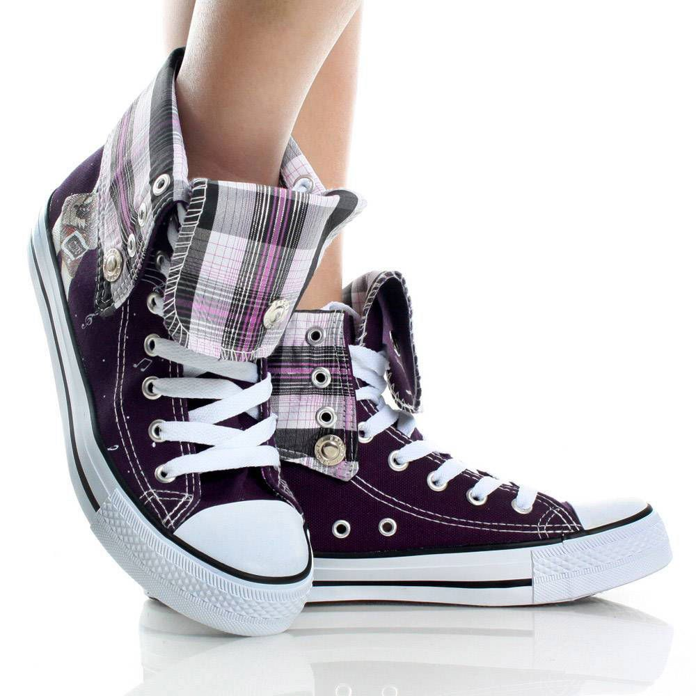 punk girl dress with sneakers | Canvas Plaid Lace Up