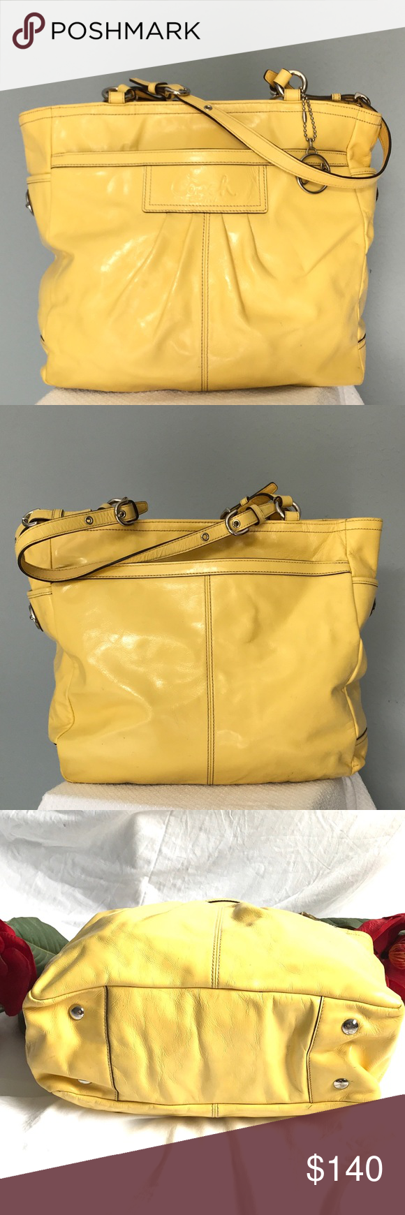 Coach patent leather shoulder bag Yellow shoulder bags