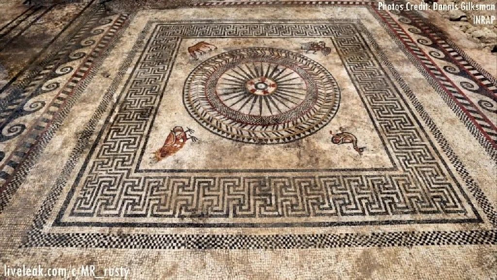 (Mar. 30, 2017) Massive Ancient Mosaics Found In France   Archaeologists have unearthed part of an ancient Roman city in southern France, known as Ucetia. To date, the settlement had only be known by name, and this is the first time that some of its impressive features have come to light.