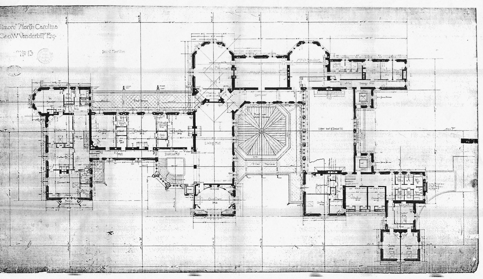 Biltmore House Floor Blue Print Floorplan Including Bachelor S Wing Before Remodel