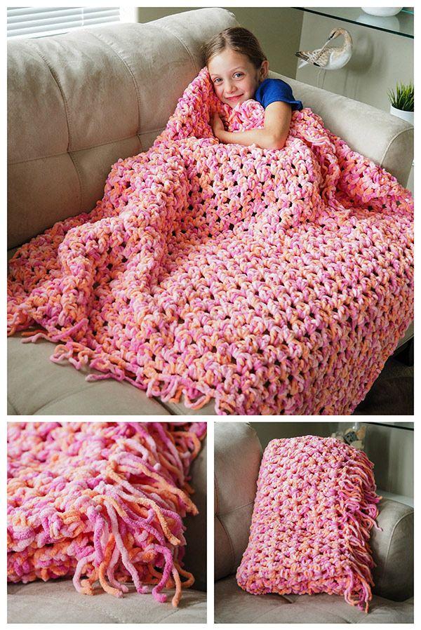 Easy Cozy Crochet Blanket | Puntadas, Manta y Tejido