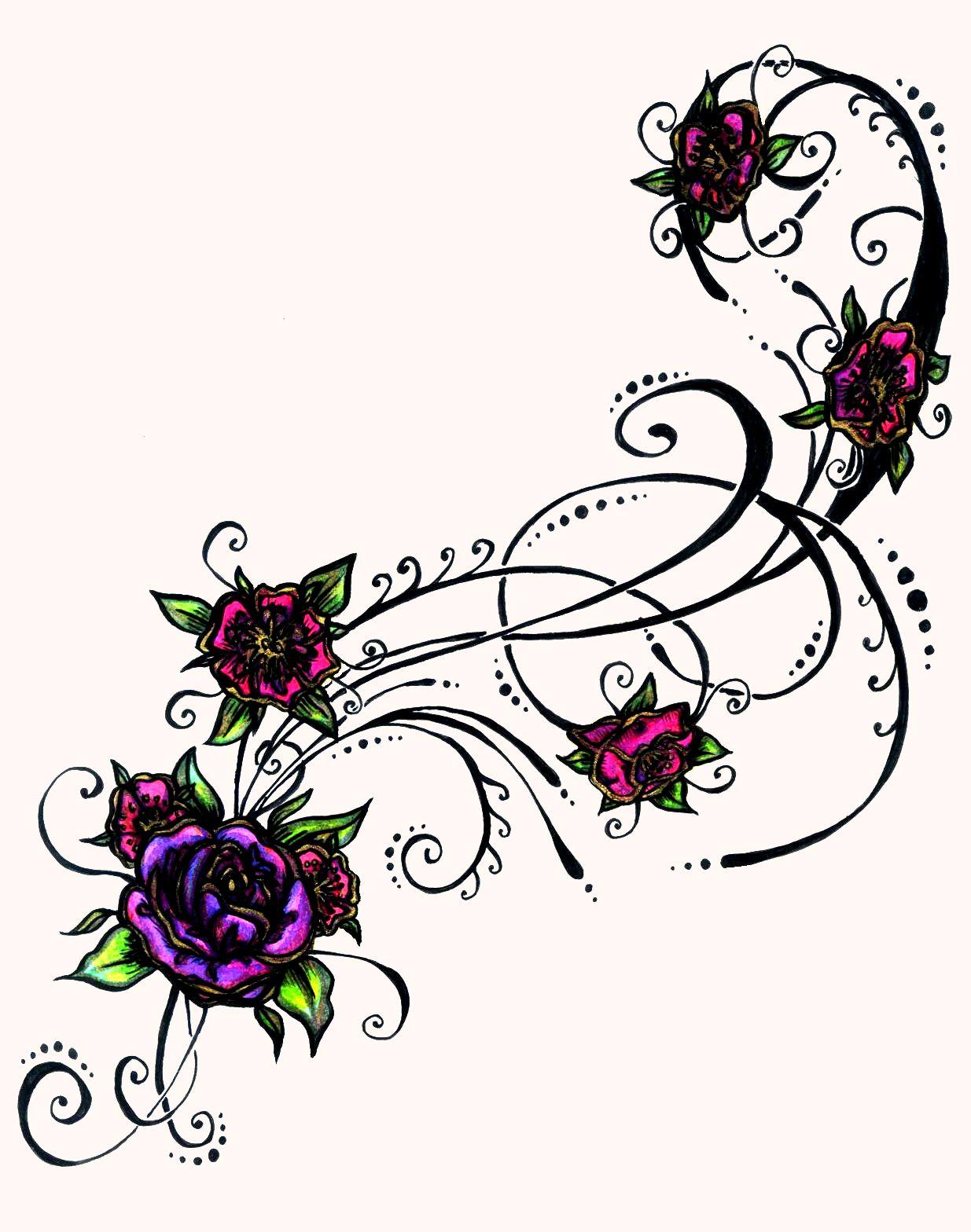 tattoo flower tribal Google Search Purple flower