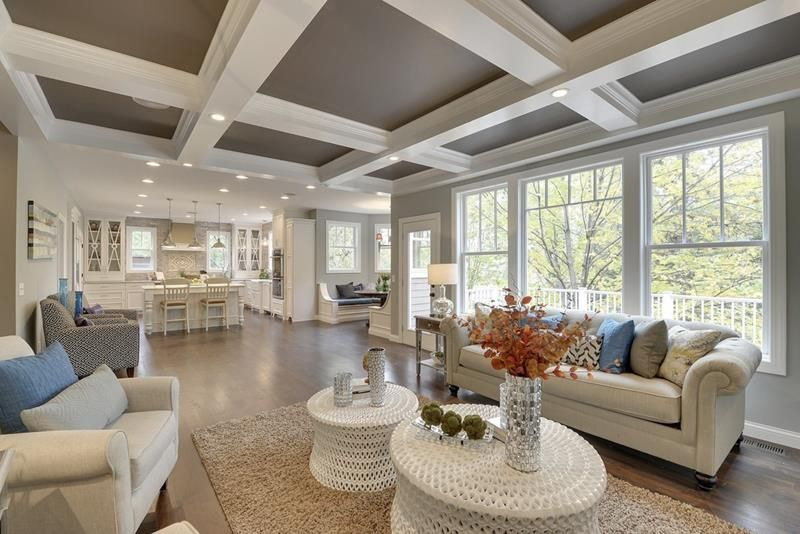 We Think That Crown Molding Can Make Any Room Seem That Much More Put Together And These 23 Living Room In 2021 Coffered Ceiling Design Coffered Ceiling Ceiling Decor