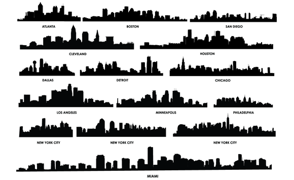 City Skylines Vector Pack City Silhouette Building Silhouette Cityscape Silhouette
