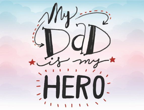 My Dad Is My Hero Svg Text Iron On Clipart Father Vector Text