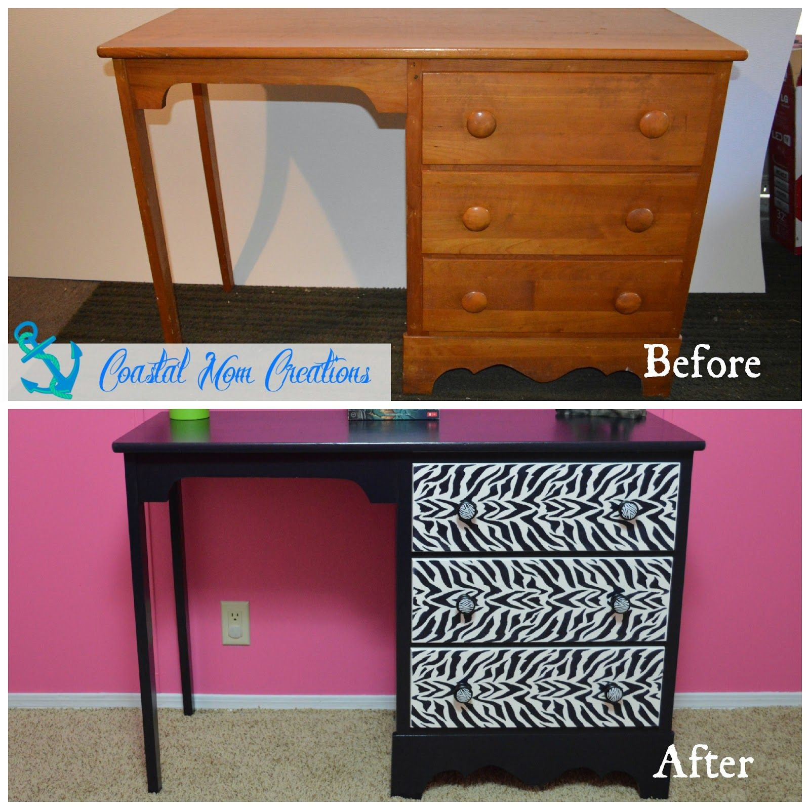 Zebra desk makeover diy pinterest zebras desk makeover and mom