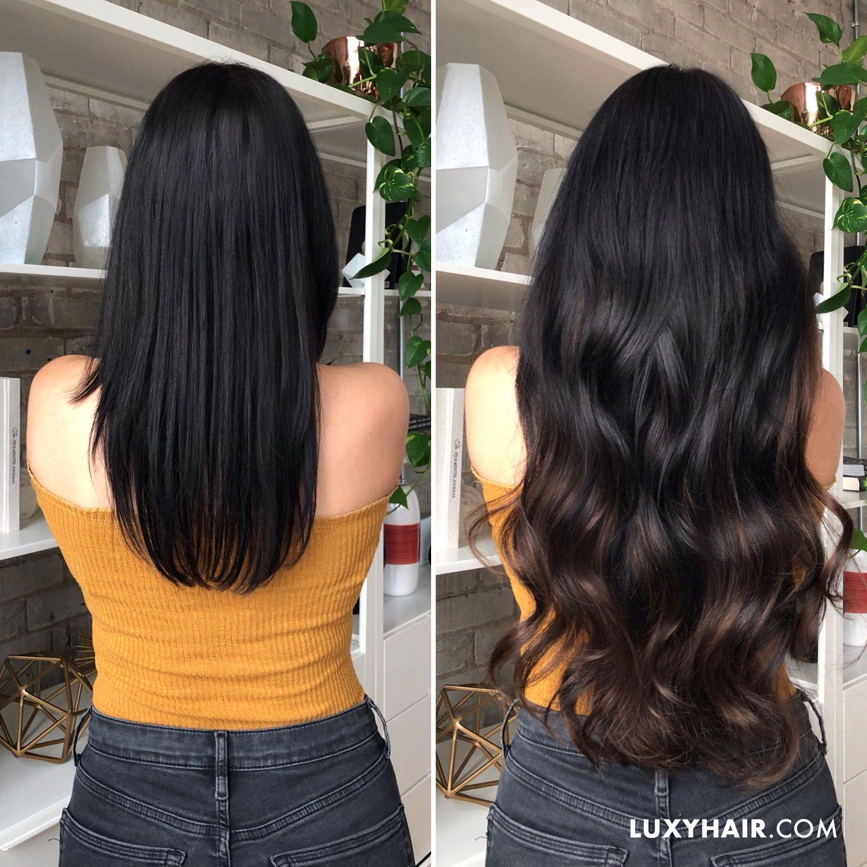 Balayage Hair Extensions   Seamless Off Black Balayage   Black ...