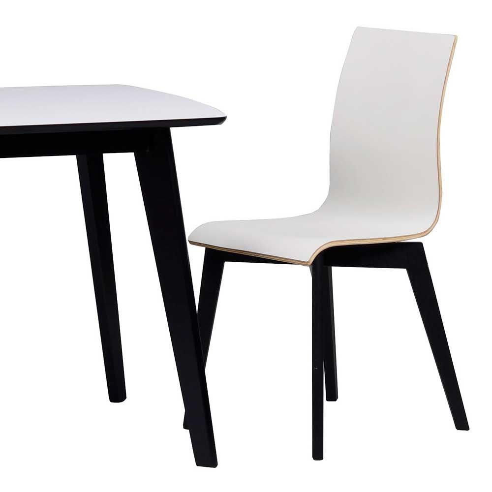 Design Esszimmerstuhl in Schwarz Weiß Holzbeine (2er Set) Jetzt ...