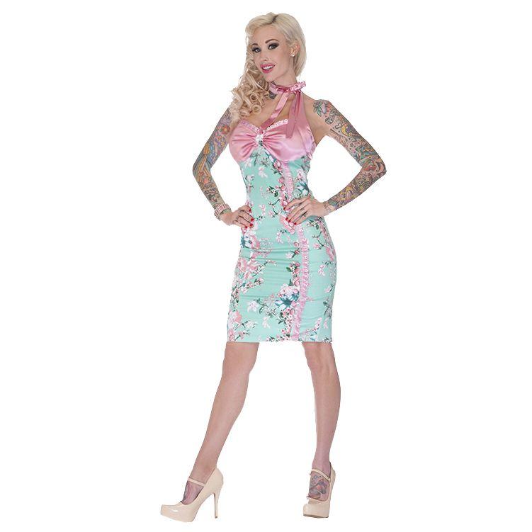 Voodoo Vixen Ladies Blue Pink Floral Vintage 40S 50S Style Wiggle Pencil Dress | eBay