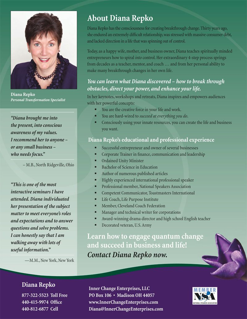 Professional speaker onesheets position you as an expert