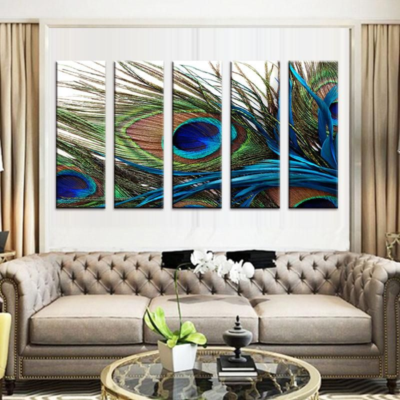 Peacock Feather Peacock Wall Art Peacock Painting Peacock Decor #peacock #theme #living #room