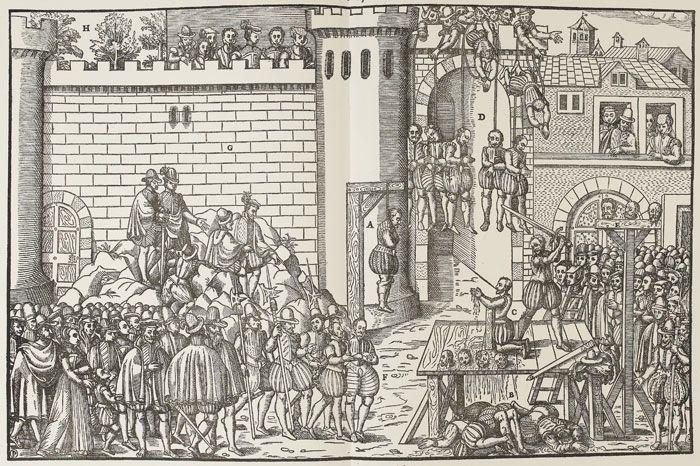 Les exécution d'amboise, mars 1560, Tortorel et Perrissin. Si la gravure met peu l'accent sur l'attaque menée par Maligny et Chandieu contre une porte de la ville d'Amboise, celle-ci souligne délibérément le rôle de l'entourage royal dans la conduite de la répression, ainsi que le courage et la dignité des victimes. La présence d'une nombreuse assistance est clairement organisée: ces témoins ont des gestes mesurés indiquant qu'ils commente les exécutions, ne manifestant ni joie ni…