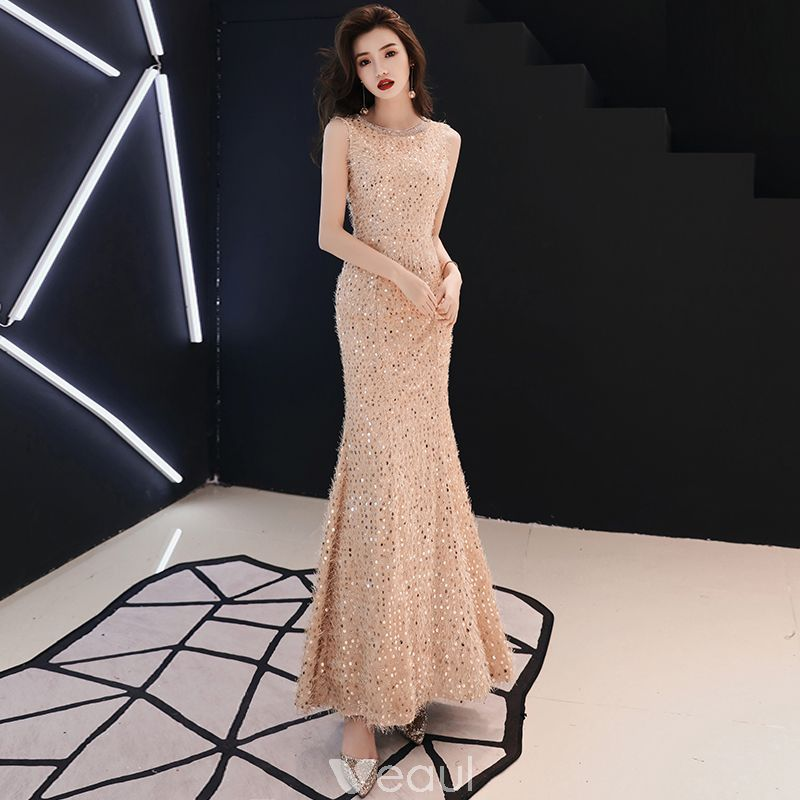 996cb7d7d0a726 Bling Bling Champagne Evening Dresses 2019 Trumpet   Mermaid Scoop Neck  Sleeveless Glitter Sequins Floor-Length   Long Ruffle Formal Dresses