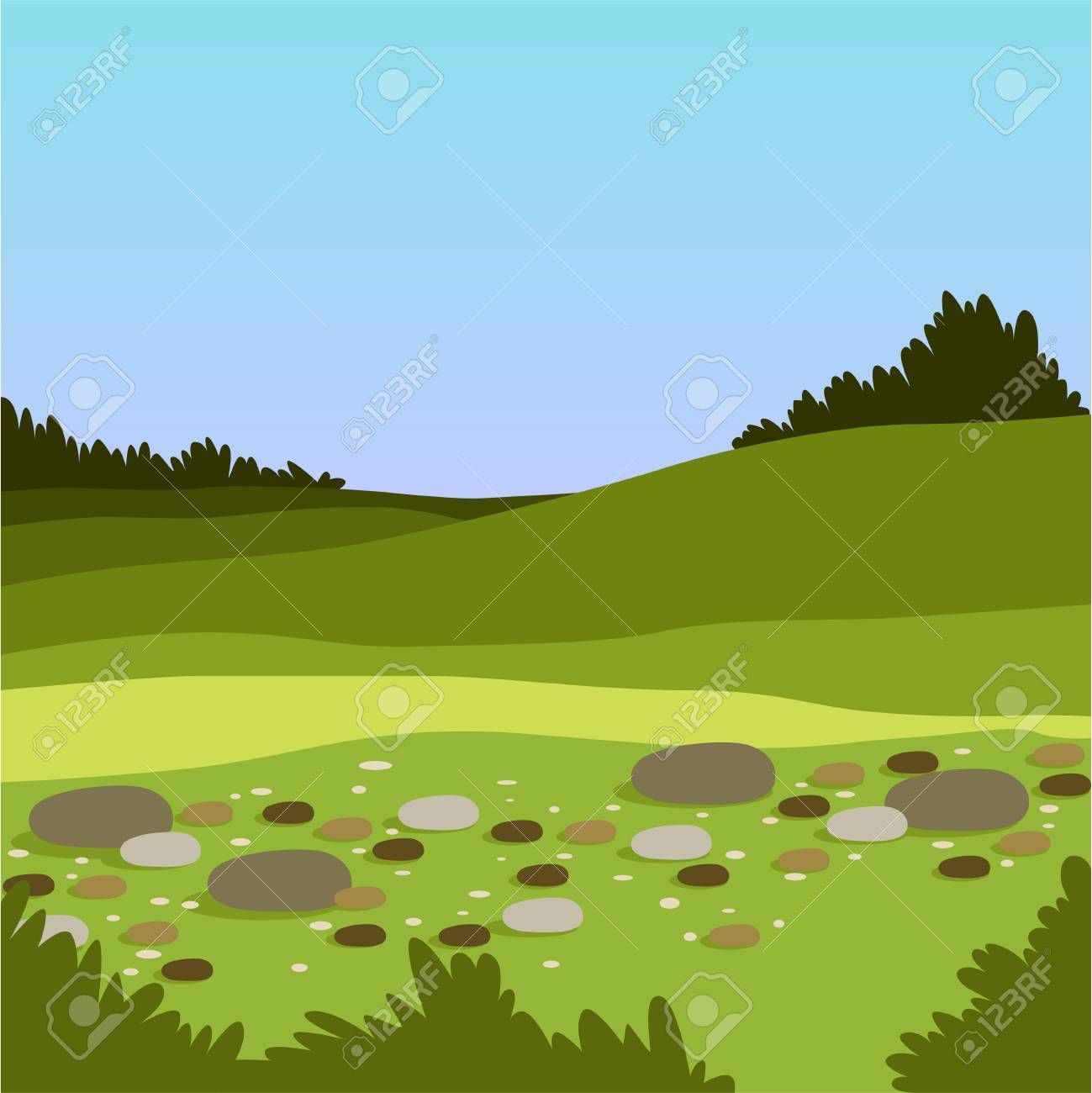 Beautiful Valley With Hills And Stones Green Summer Landscape Nature Background Vector Illustration Summer Landscape Wedding Card Design Nature Backgrounds