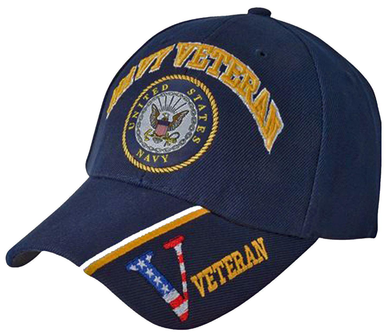 ca3125195371e US Navy Veteran Hat Blue Military Baseball Cap with Logo Emblem