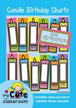 Birthday charts posters cute candles print these candle to make  display of your students  birthdays you will need write their also rodjendani rh pinterest
