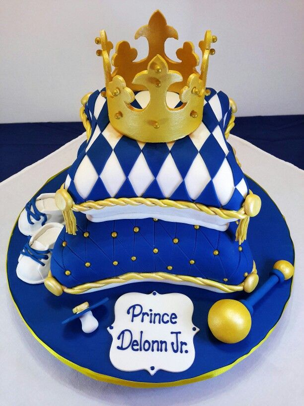 A Royal Blue And Gold Baby Shower Pillow Cake!