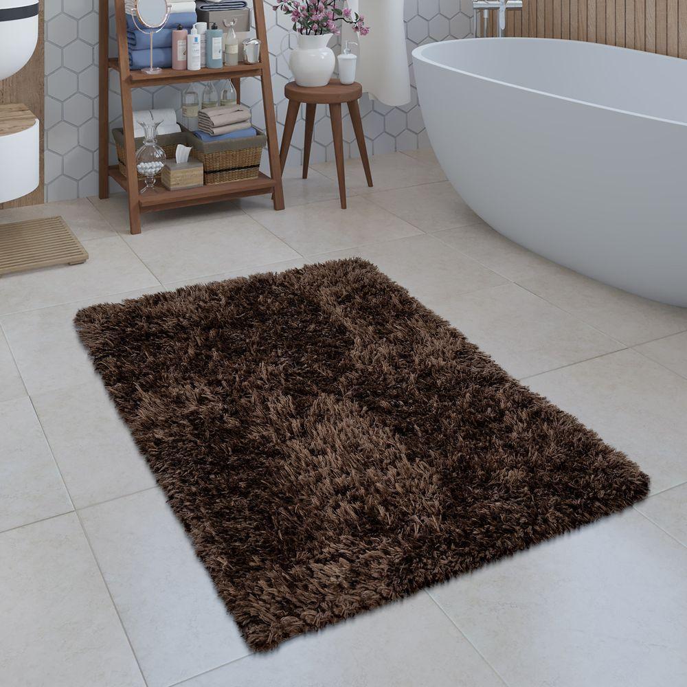Badezimmer Teppich Shaggy Einfarbig Braun Badematte Badematten