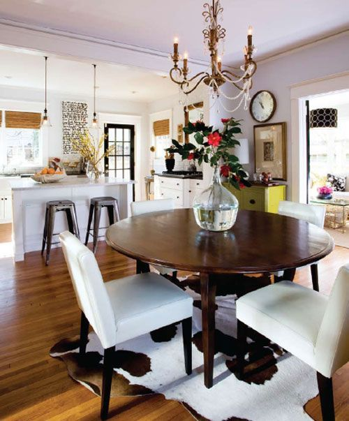 Cowhide Rug Under Dining Table