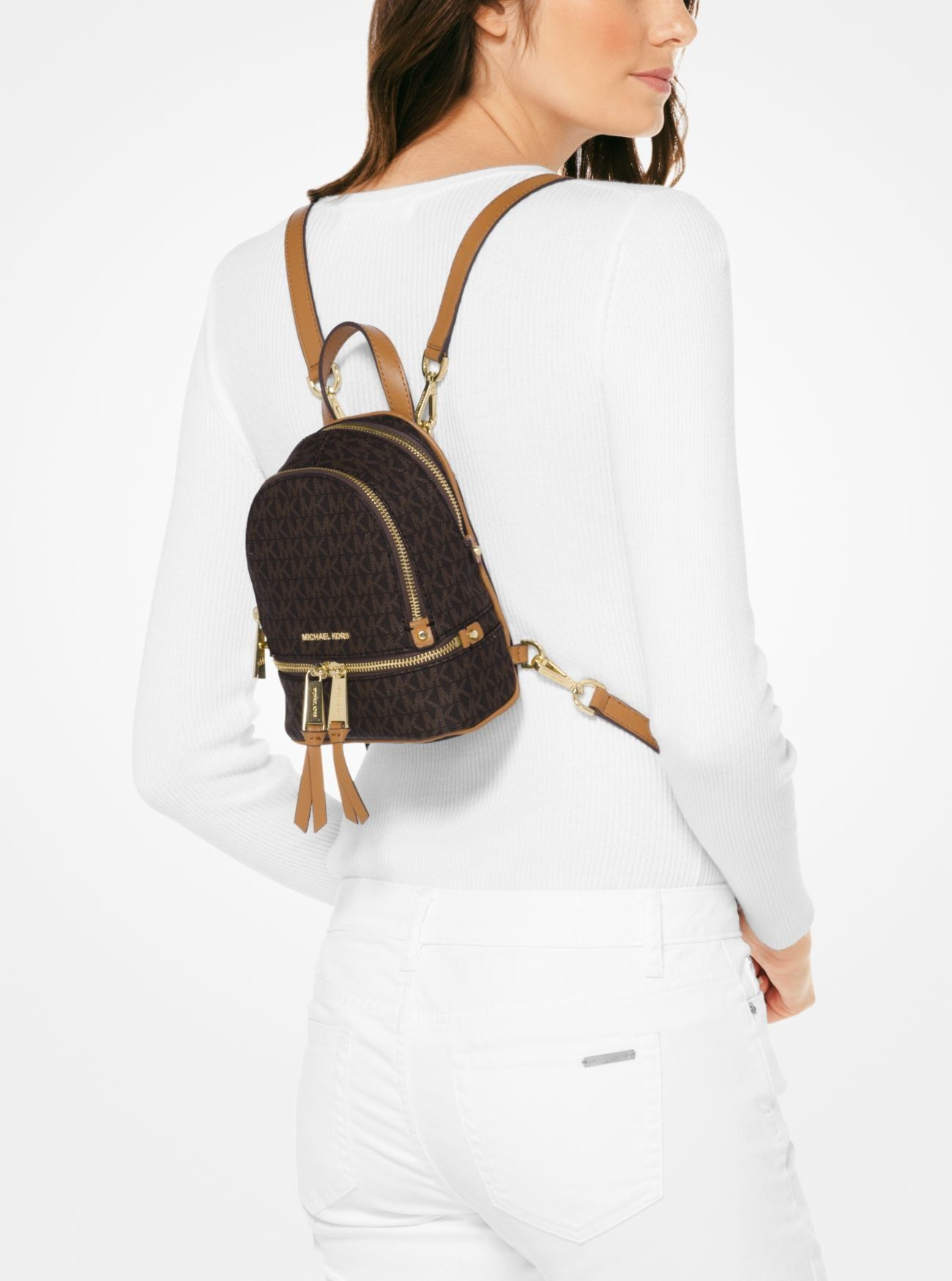 6fca328b0c27 Online Michael Kors Brown Rhea Mini Logo Backpack Outlet | MK ...