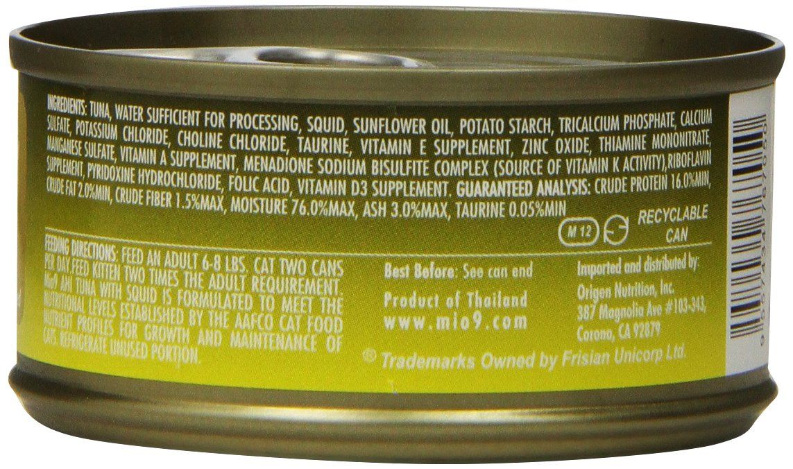 Mio9 Delicious Cat Food Ahi Tuna with Squid 3oz Can 24Pack