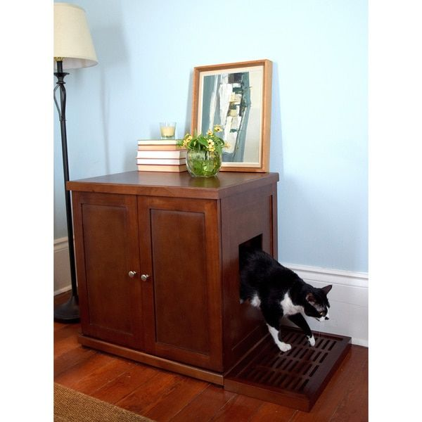 Decorative Litter Box The Refined Feline's Hidden Kitty Enclosed Wooden End Table