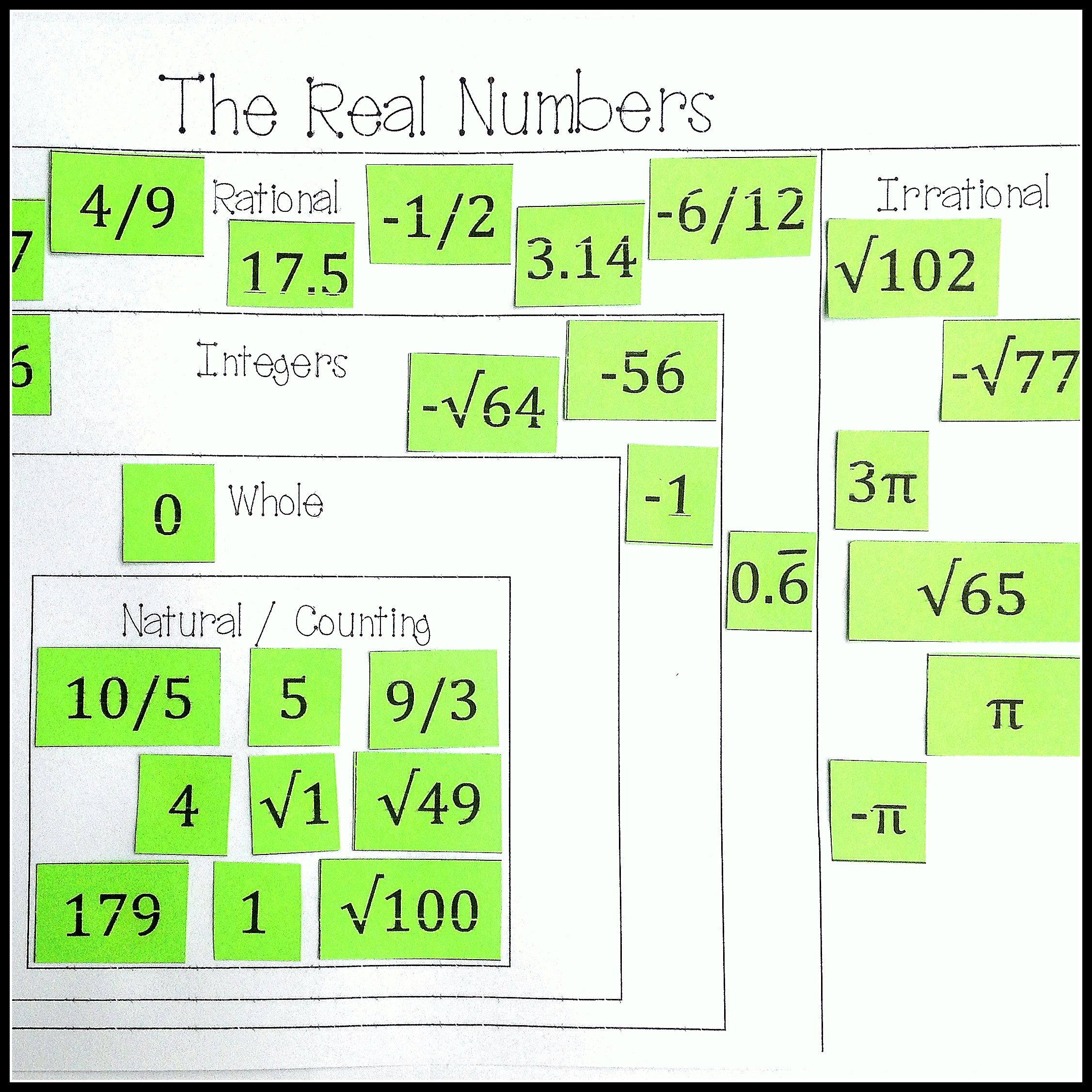 real numbers system card sort rational irrational integers whole natural 8th grade. Black Bedroom Furniture Sets. Home Design Ideas