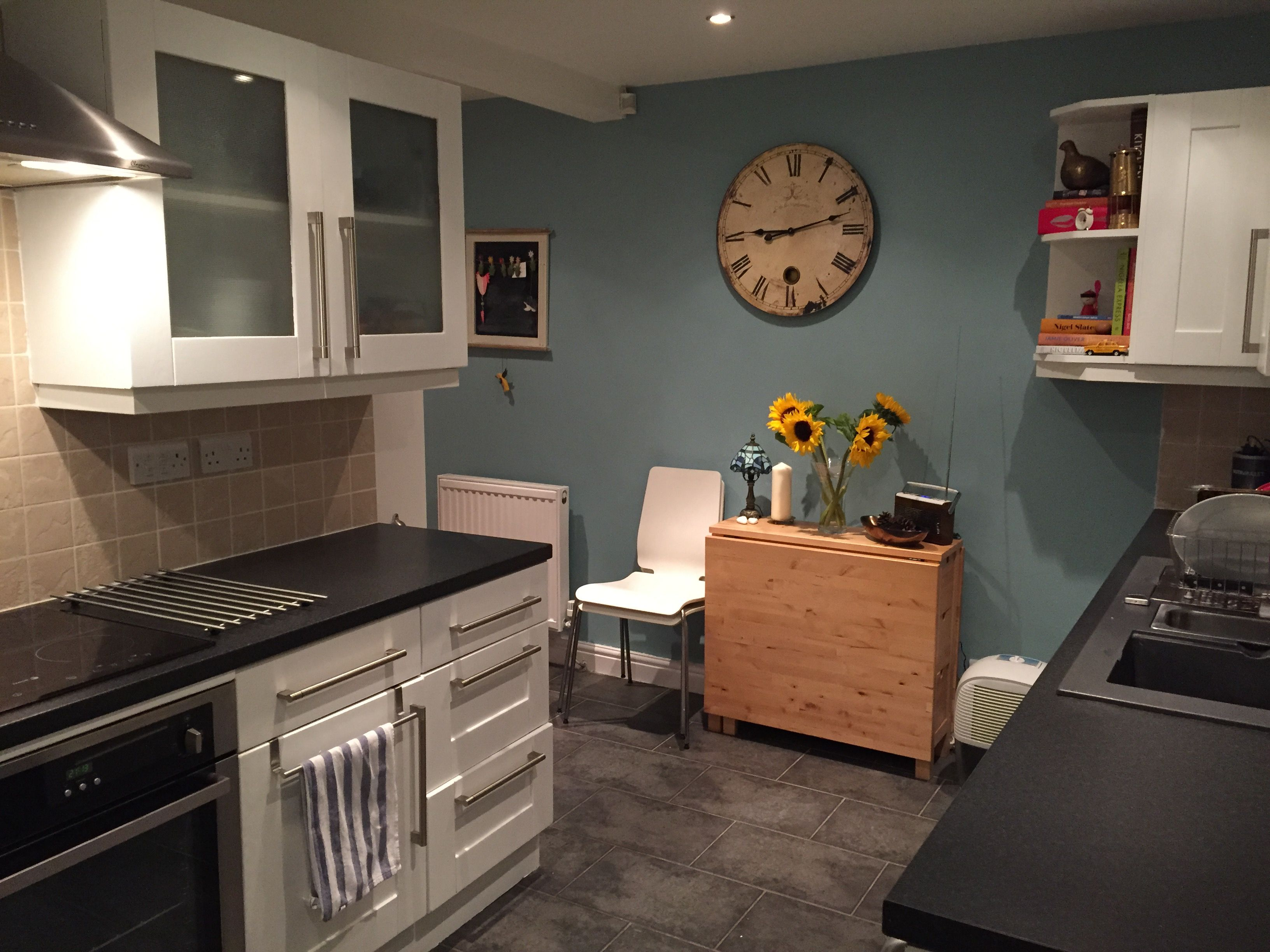 Painted white cabinets with dulux 39 blue reflection 39 walls for Dulux paint kitchen ideas