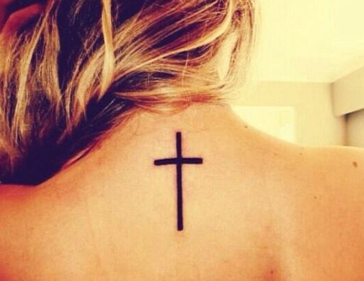 Back Neck Tattoo Solid Cross With Images Best Neck Tattoos Back Of Neck Tattoo Neck Tattoo