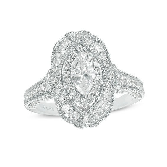 Vera Wang Love Heirloom Collection 1 1 3 Ct T W Marquise Diamond Frame Engagement Ring In 14k White Gold Zales Vera Wang Engagement Rings Vintage Engagement Rings Wedding Rings Vintage