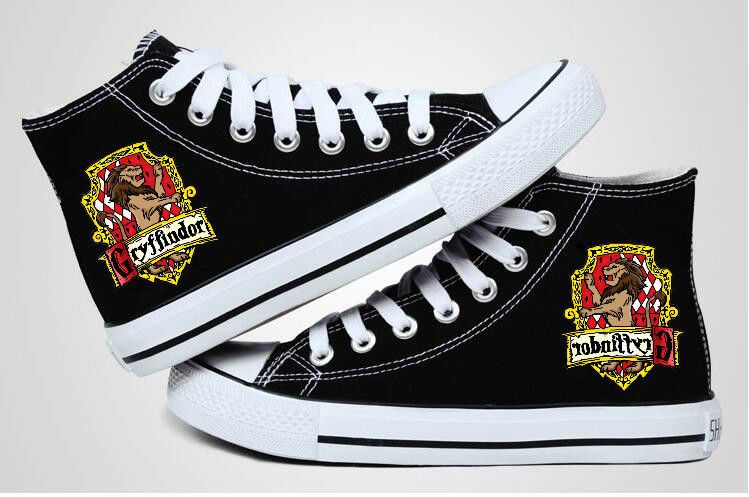 Muggle Harry potter Hufflepuff High top Canvas Flat Shoes Casual Sneaker Shoe