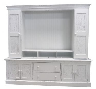 White Country Style Entertainment Centers Coastal Cottage Maybank Wall Unit Center Solid