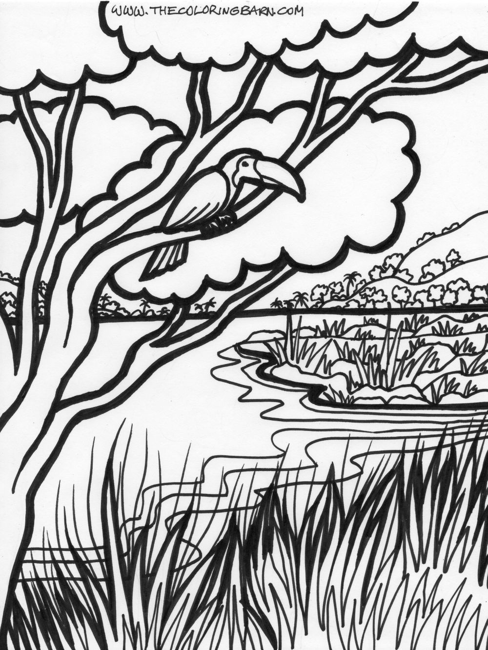 jungle coloring pages free | Description of Jungle Trees Coloring ...