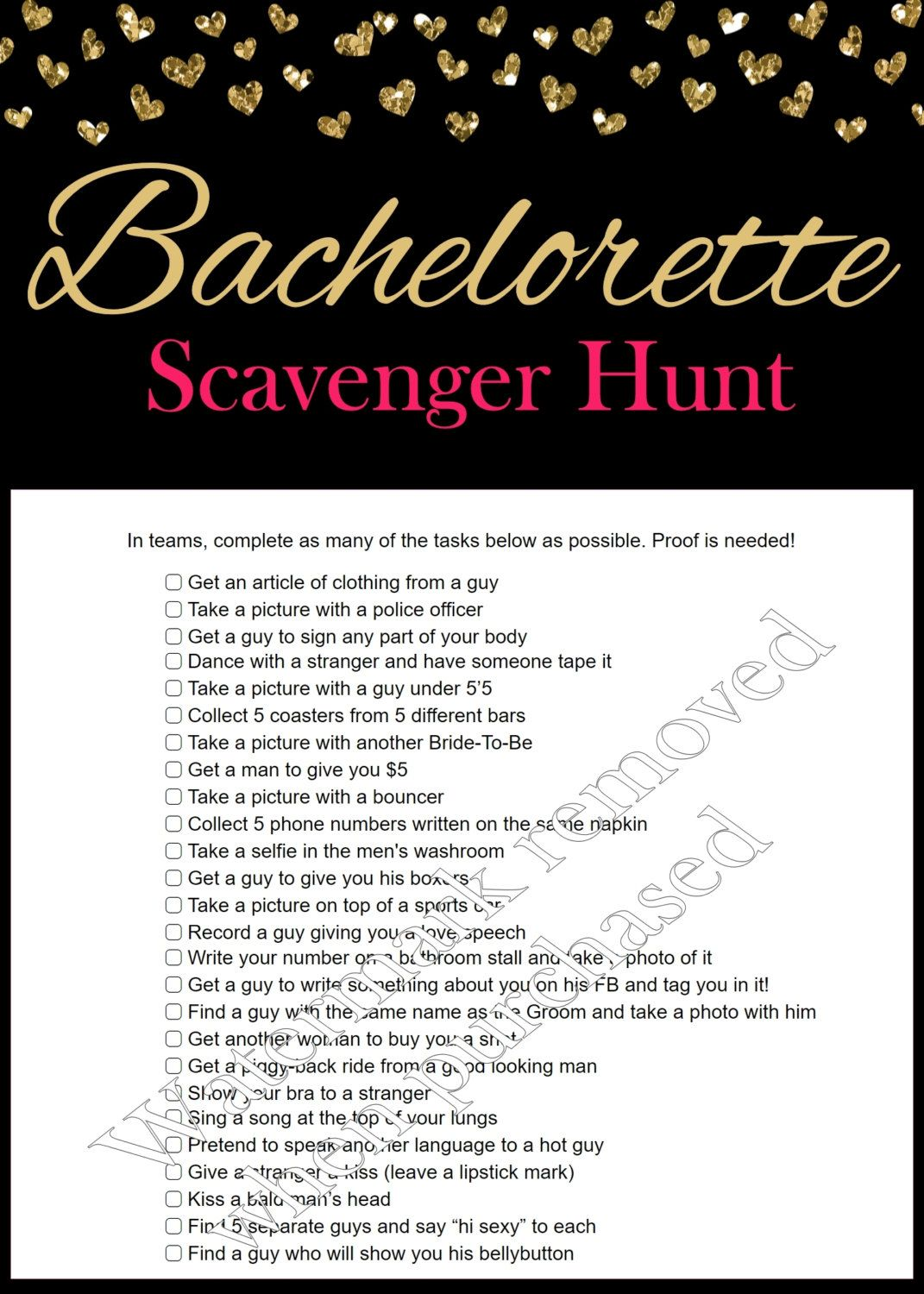 picture about Printable Bachelorette Scavenger Hunt known as Bachelorette Scavenger Hunt - Bachelorette Occasion Online games