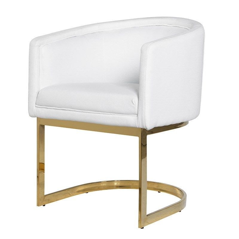 Sydney White Dining Chair With Yellow Gold Frame