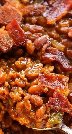The Best Baked Beans Wonder If I Can Swap Out Beef For Ground Turkey Use Veggie Beans And Do Turkey Bacon Best Baked Beans Bbq Recipes Baked Bean Recipes