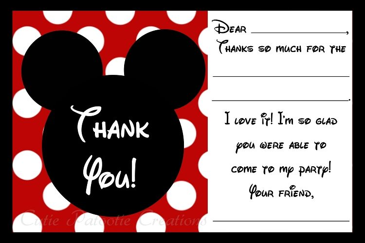 Mickey Mouse Thank You Cards Printable Digital In 2018