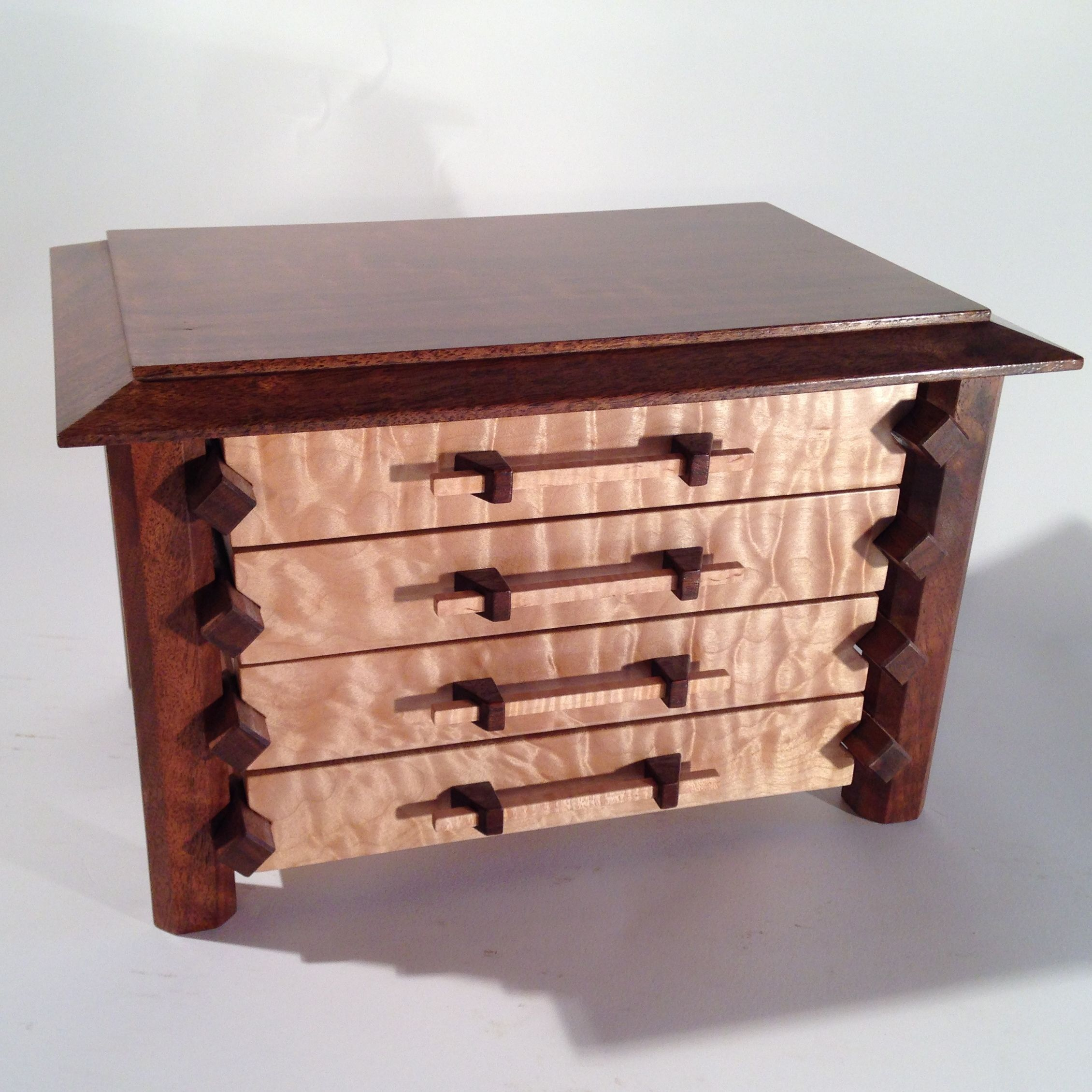 Handcrafted wood jewelry boxes - Custom Made Pagoda Style Jewelry Box In Quilted Maple And Claro Walnut