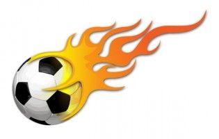 Fire soccer ball. Flames flame clip art